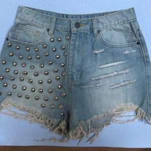 UNIF High Waist Studded Distressed Shorts